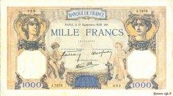 1000 Francs CÉRÈS ET MERCURE type modifié FRANCE  1939 F.38.37 TTB+