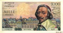 1000 Francs RICHELIEU FRANCE  1953 F.42.01 pr.SPL