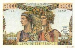 5000 Francs TERRE ET MER FRANCE  1949 F.48.01 SUP à SPL