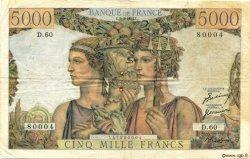 5000 Francs TERRE ET MER FRANCE  1951 F.48.04 pr.TB