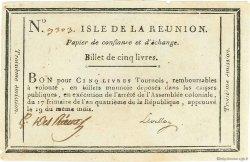 5 Livres ÎLE DE LA RÉUNION  1795 P.A10 pr.SUP