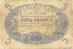 5 Francs Cabasson bleu GUYANE  1922 P.01a pr.TB