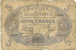 5 Francs Cabasson bleu MARTINIQUE  1935 P.06B pr.B