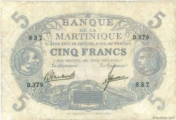 5 Francs Cabasson bleu MARTINIQUE  1945 P.06B B+