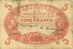 5 Francs Cabasson rouge MARTINIQUE  1922 P.06A TB