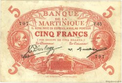 5 Francs Cabasson rouge MARTINIQUE  1922 P.06A TTB