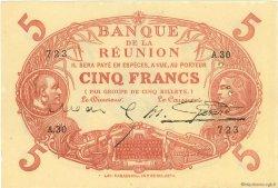 5 Francs Cabasson rouge ÎLE DE LA RÉUNION  1920 P.14 pr.SUP