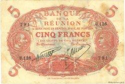 5 Francs Cabasson rouge ÎLE DE LA RÉUNION  1938 P.14 TTB