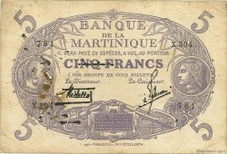 5 Francs Cabasson violet MARTINIQUE  1934 P.06 B+