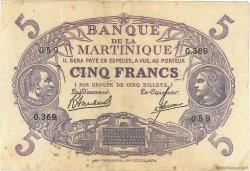 5 Francs Cabasson violet MARTINIQUE  1946 P.06C TB+