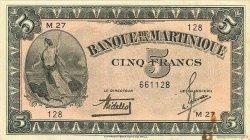 5 Francs MARTINIQUE  1942 P.16b TTB