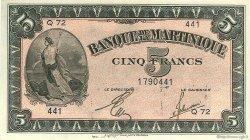 5 Francs type Américain MARTINIQUE  1944 P.16b pr.NEUF
