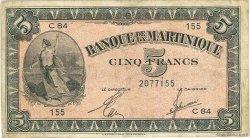 5 Francs type Américain MARTINIQUE  1944 P.16b TB