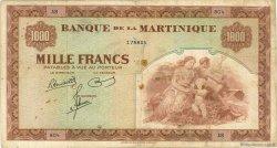 1000 Francs type Américain MARTINIQUE  1945 P.21a TB