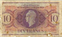 10 Francs type Anglais MARTINIQUE  1944 P.23 B