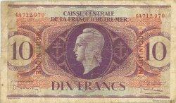 10 Francs MARTINIQUE  1944 P.23 TB
