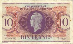 10 Francs type Anglais MARTINIQUE  1944 P.23 TTB