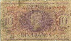 10 Francs type Anglais GUADELOUPE  1944 P.27a AB