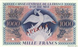 1000 Francs type 1943 Anglais, phénix MARTINIQUE  1946 P.26s NEUF