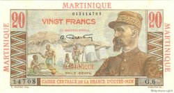 20 Francs E.Gentil MARTINIQUE  1946 P.29 SUP