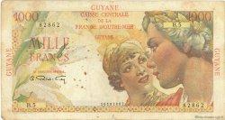1000 Francs Union Française GUYANE  1946 P.25 TB