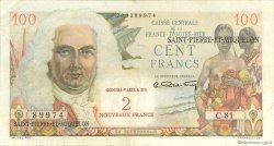 2 Nouveaux Francs sur 100 F La Bourdonnais SAINT PIERRE ET MIQUELON  1960 P.32 pr.TTB