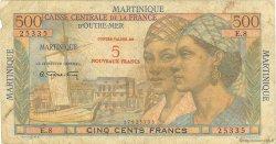 5 Nouveaux Francs sur 500 Francs Pointe à Pitre MARTINIQUE  1960 P.38 B+