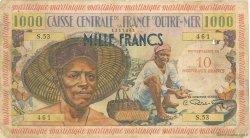 10 Nouveaux Francs sur 1000 Francs Pêcheur MARTINIQUE  1960 P.39 B