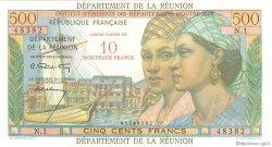 10 Nouveaux Francs sur 500 Francs Pointe à Pitre ÎLE DE LA RÉUNION  1964 P.54a NEUF
