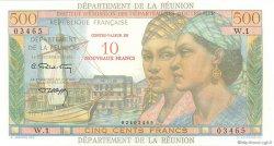 10 NF sur 500 Francs Pointe à Pitre ÎLE DE LA RÉUNION  1964 P.54b NEUF