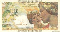 20 NF sur 1000 Francs Union Française ÎLE DE LA RÉUNION  1964 P.55b TTB+