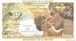 20 Nouveaux Francs sur 1000 Francs Union Française ÎLE DE LA RÉUNION  1964 P.55b SPL