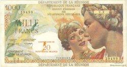 20 Nouveaux Francs sur 1000 Francs Union Française ÎLE DE LA RÉUNION  1964 P.55b TTB