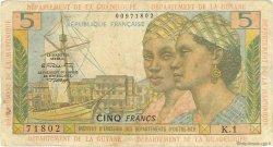 5 Francs type 1964 ANTILLES FRANÇAISES  1966 P.07b B à TB