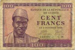 100 Francs GUINÉE  1958 P.07 TB