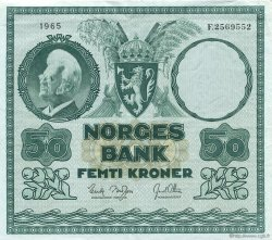 50 Kroner NORVÈGE  1965 P.32c SUP