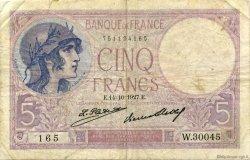 5 Francs VIOLET FRANCE  1927 F.03.11 TB
