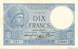 10 Francs MINERVE modifié FRANCE  1939 F.07.04 TTB à SUP