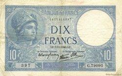 10 Francs MINERVE modifié FRANCE  1940 F.07.19 TTB