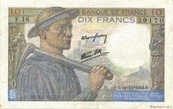 10 Francs MINEUR FRANCE  1942 F.08.05 TTB