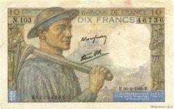 10 Francs MINEUR FRANCE  1945 F.08.14 pr.TTB
