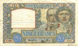 20 Francs SCIENCE ET TRAVAIL FRANCE  1940 F.12.02 TTB