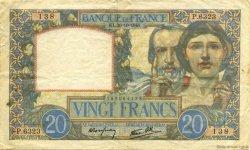 20 Francs SCIENCE ET TRAVAIL FRANCE  1941 F.12.19 TTB