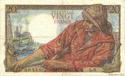 20 Francs PÊCHEUR FRANCE  1942 F.13.01 TTB à SUP