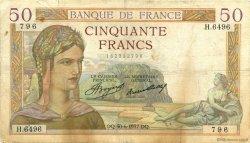 50 Francs CÉRÈS FRANCE  1937 F.17.40 TB