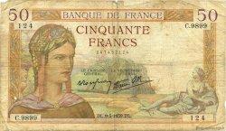 50 Francs CÉRÈS modifié FRANCE  1939 F.18.23 B