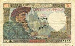 50 Francs JACQUES CŒUR FRANCE  1941 F.19.15 TTB