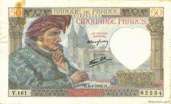 50 Francs JACQUES CŒUR FRANCE  1942 F.19.18 SUP