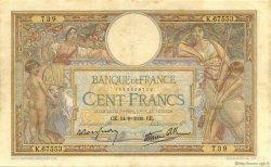 100 Francs LUC OLIVIER MERSON type modifié FRANCE  1939 F.25.49 TTB à SUP