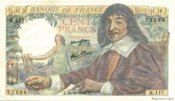 100 Francs DESCARTES FRANCE  1944 F.27.08 SPL
